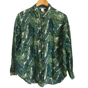 3/30$ H&M Green Tropical Oversized Indian Shirt